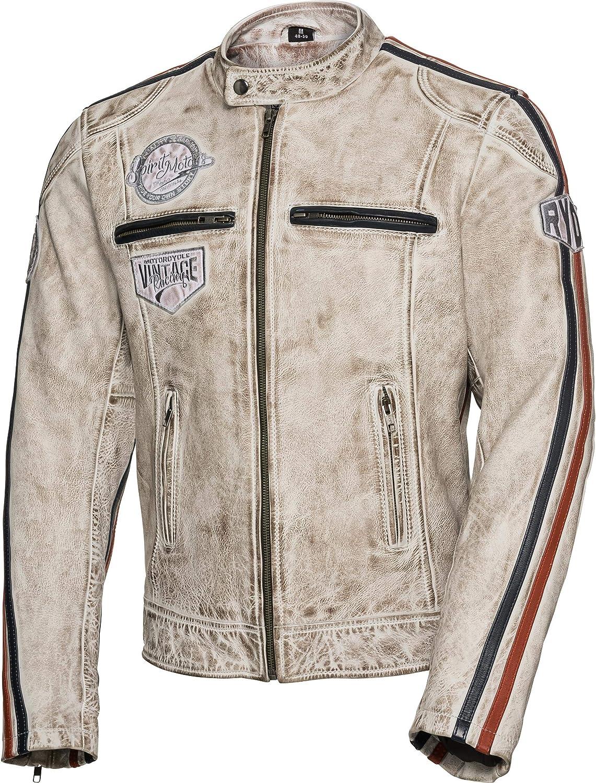 Chopper//Cruiser Hommes Spirit Motors Veste de Moto avec Protections Veste de Moto Retro-Style Veste Cuir 3.0 Toute lann/ée