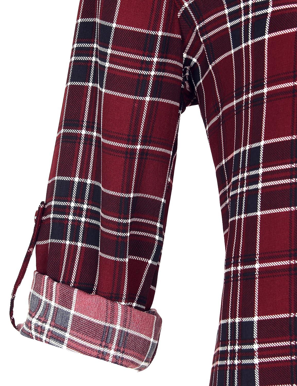 Timeson Women Casual Chiffon V Neck Cuffed Sleeve Blouse Tops