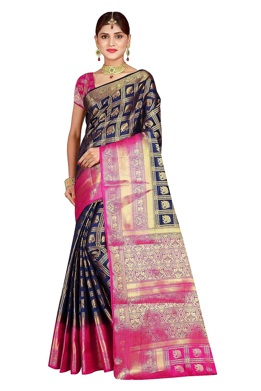 Dealsure Women's Multicolor Banarasi Silk Saree With Blouse Piece.