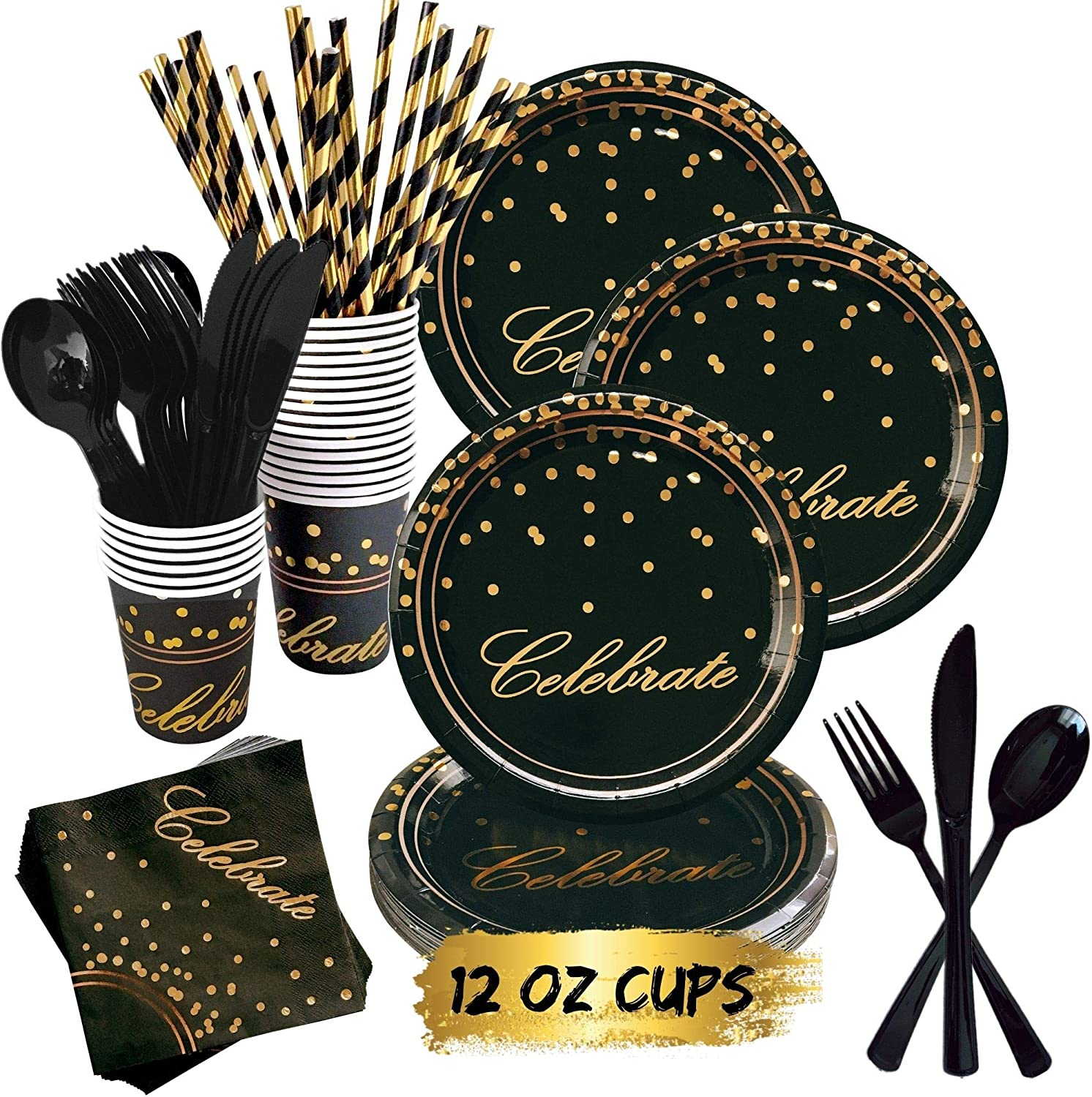 Serves 25 Black and Gold Party Supplies 101PCS Golden Dot Paper Party Tableware Includes 9Paper Plates Birthday 7Paper Plates 12oz Cups Banner Cocktail Party for Graduation Napkins