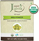 Just Jaivik 100% Organic Amla Powder - Certified Organic by OneCert Asia , 227 gms / 1/2 LB Pound / 08 Oz - Indian Gooseberry - Emblica Officinalis - (AN USDA Organic Certified Herb)