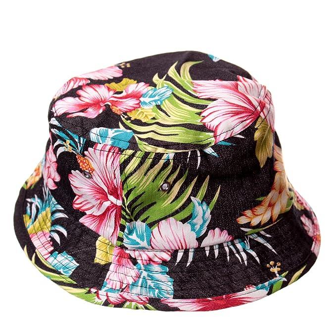 Black Hibiscus Floral Bucket Hat  Amazon.ca  Clothing   Accessories ec2054d0acb