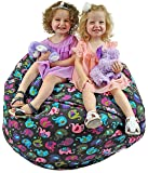 Jazzoo EXTRA LARGE 38'' Stuffed Animal Storage Bean Bag, Highly Durable Cotton Canvas with a Zinc Alloy Zipper, Elephant Print