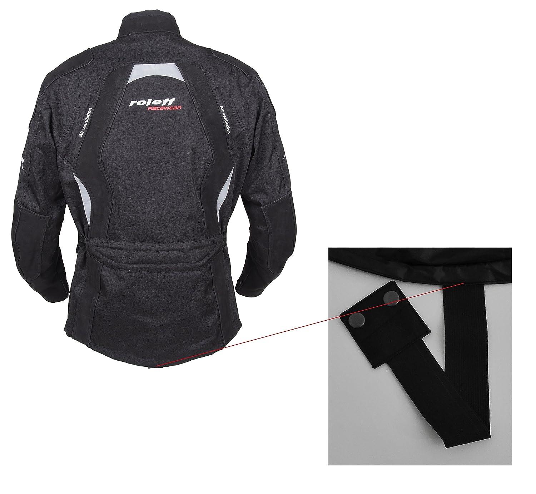 Gr/ö/ße 4XL ROLEFF RACEWEAR RO594 lange Textil Motorradjacke mit Nubukleder und Protektoren schwarz