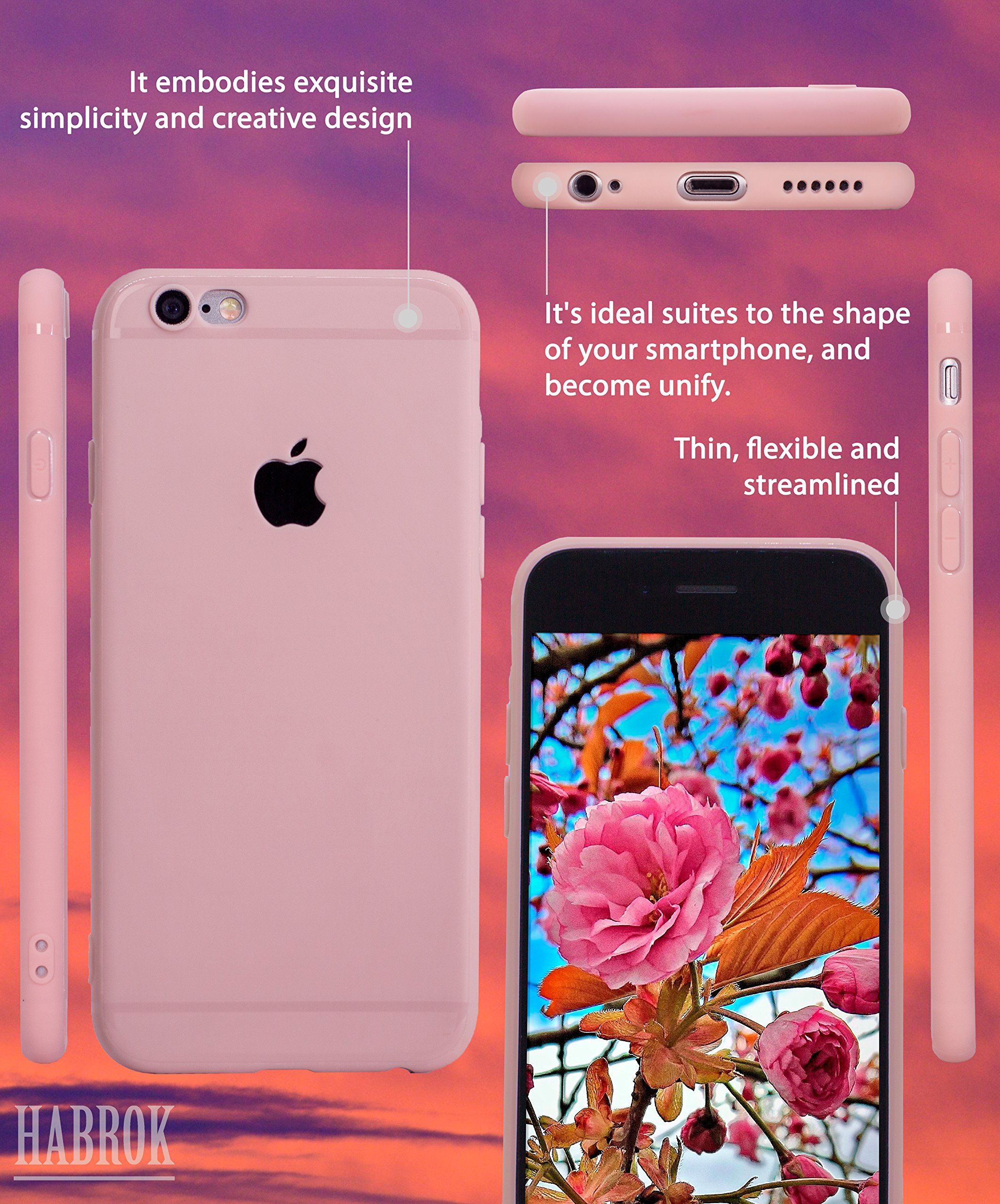 Habrok Super Slim Case for iPhone 6 Pink, silicone phone cases, apple accessories, clear design girls, women, teens thin cheap defender tpu life, soft non slip