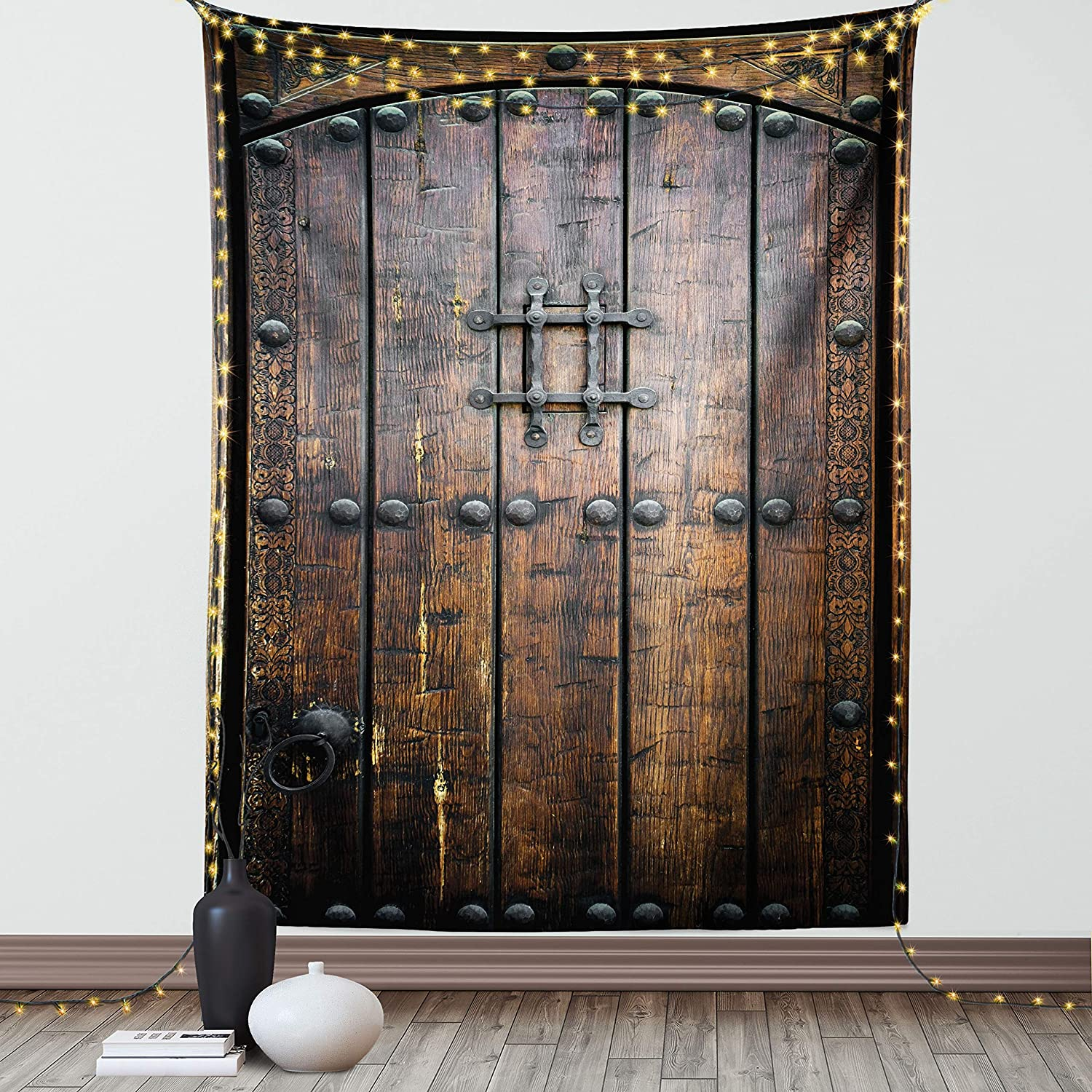 Ambesonne Rustic Tapestry, Wooden Door Historical Vintage Exterior Medieval Structure Print, Wall Hanging for Bedroom Living Room Dorm Decor, 40