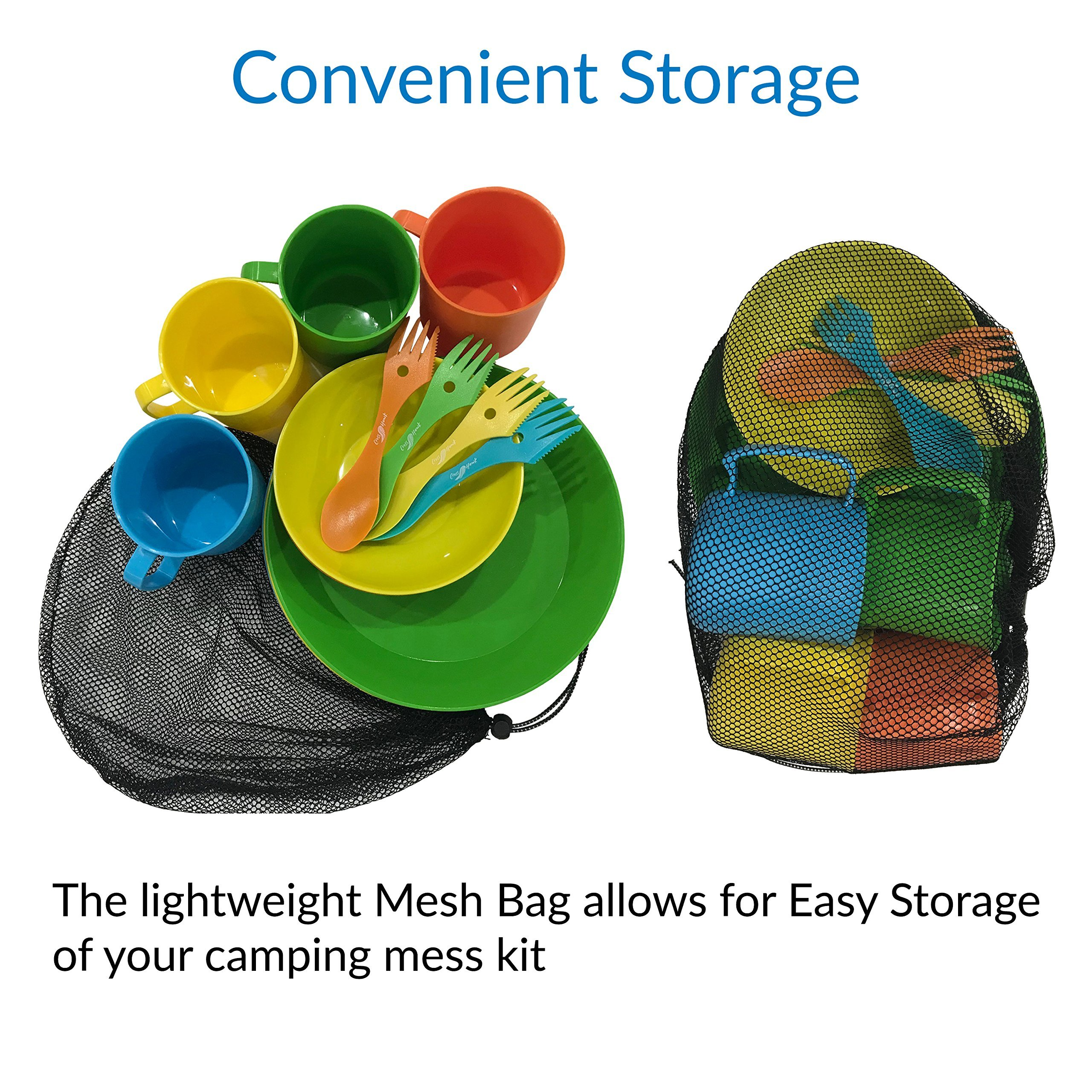 CrossHawk Camping Mess Kit | Premium Full Tableware Set With Mesh Bag For 4 People | Lightweight, Practical, Perfect For Hiking & Backpacking, School Camps, Family Vacations by CrossHawk
