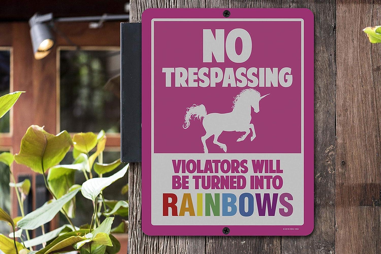 Violators Will Be Turned Into Rainbows No Trespassing Signs Unicorn Wall Decor 9 x 12 Inch Metal Aluminum Novelty Sign Decor