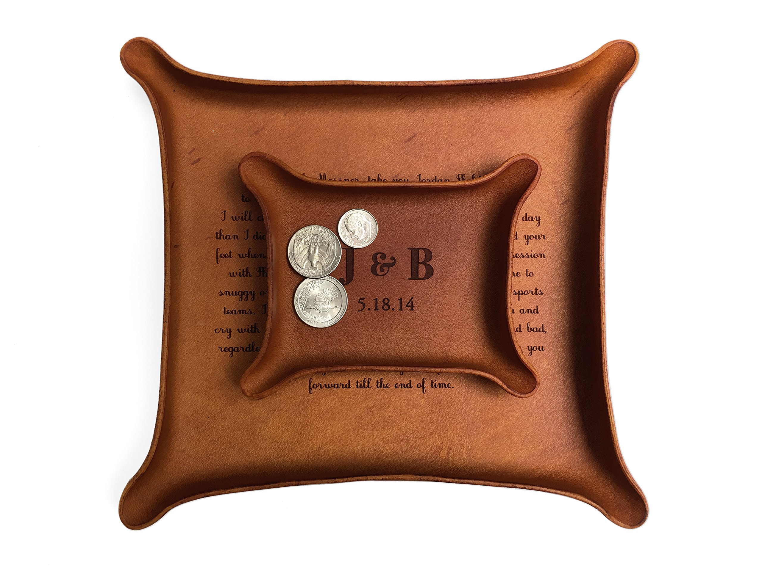 3rd Anniversary Gift / Personalized Leather Tray with Initials & Wedding Year (Small + Large Tray Set, Brown)
