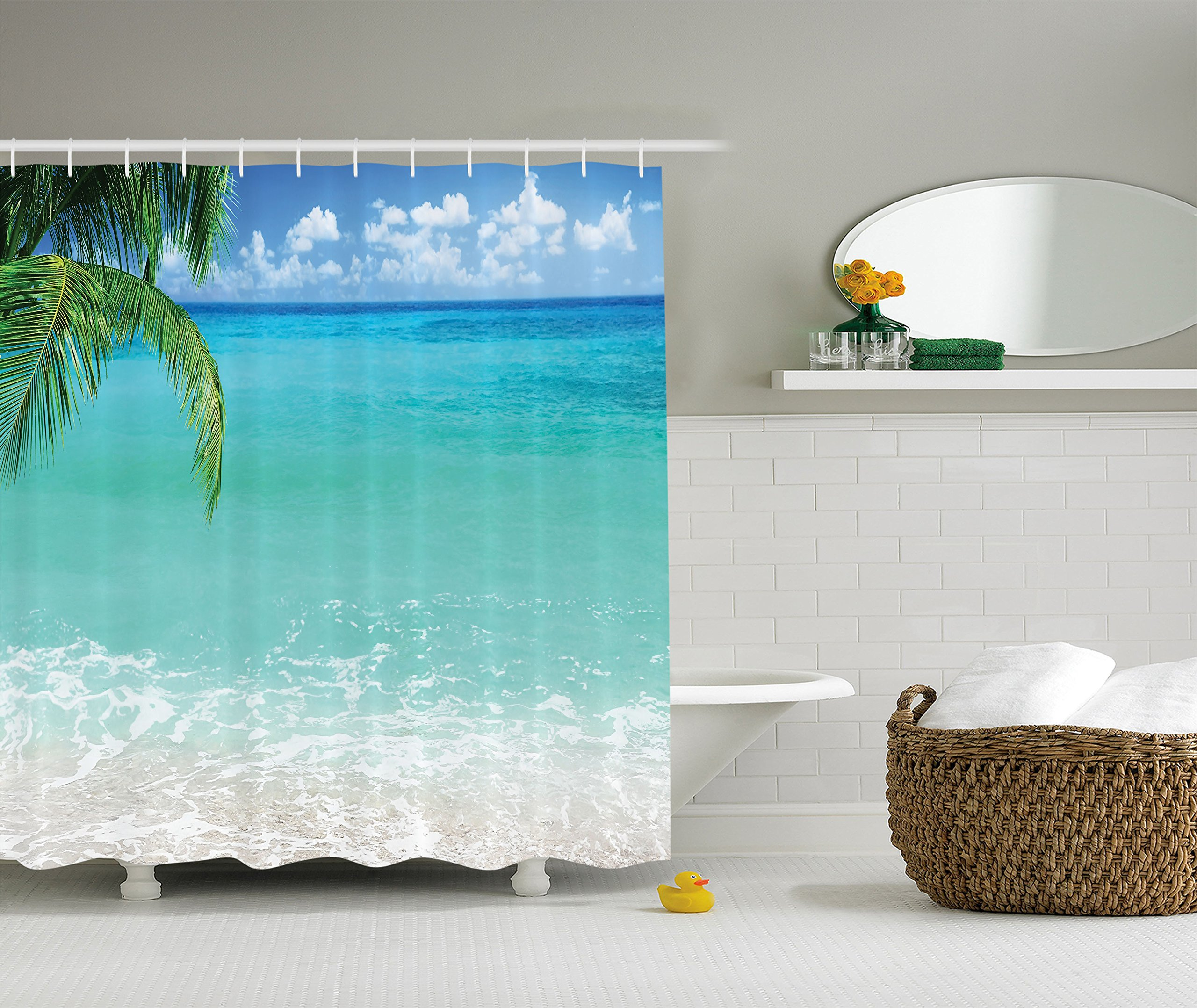 Ambesonne Ocean Decor Collection, Exotic Lebanon Beach Panoramic Sea View and Clear Sky Picture, Polyester Fabric Bathroom Shower Curtain Set with Hooks, 84 Inches Extra Long, Aqua Blue Green Ivory