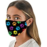 Snoozies 3-Layer Reusable Face Mask w Filters & Nose Bridge - Multi Dog Paws