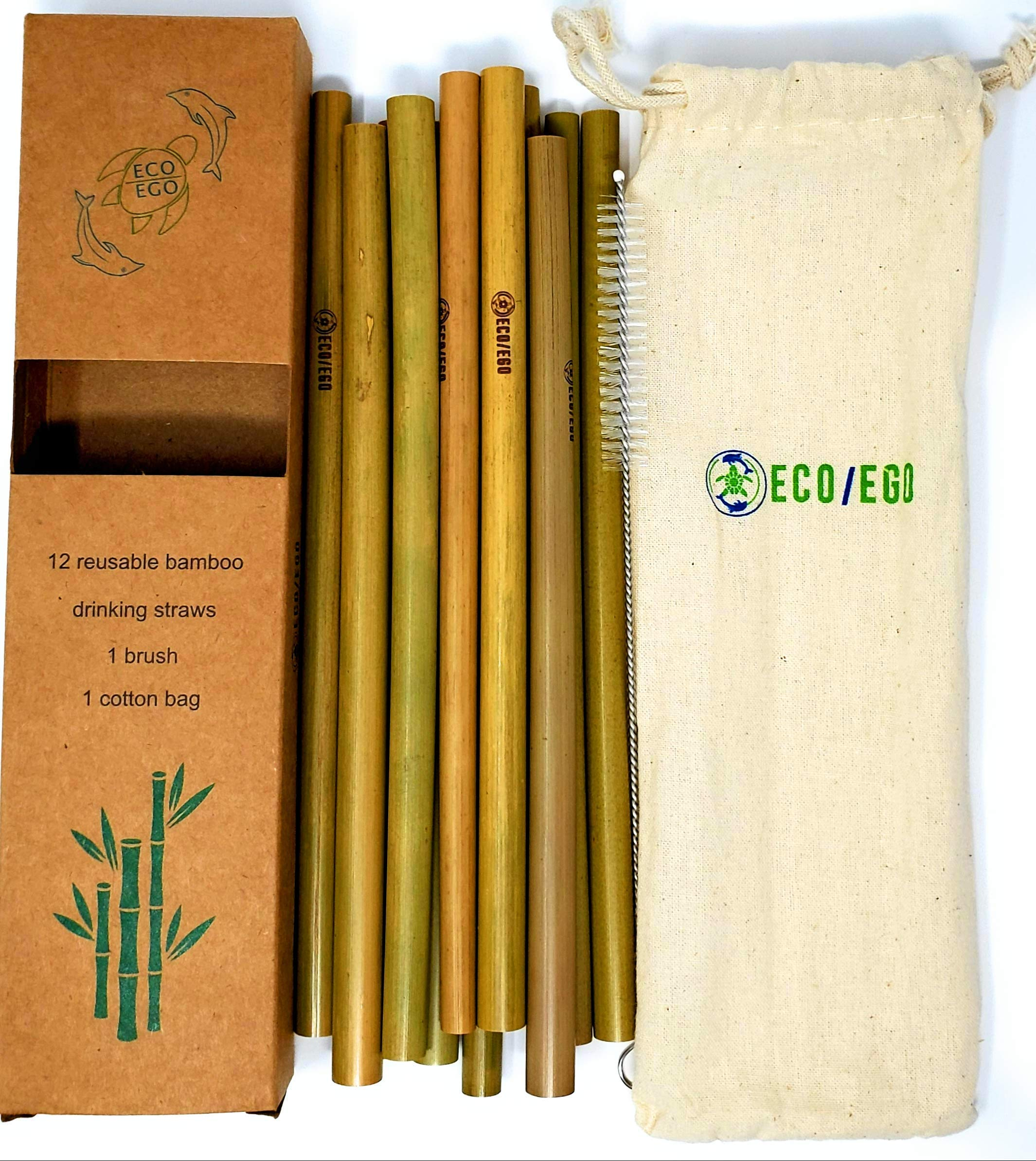 ECO/EGO reusable organic 8'' bamboo straws. Set of 12 biodegradable and reusable straws w/brush and travel pouch. ethically sourced. 10% of profits donated to sea turtle rescue. by ECO/EGO