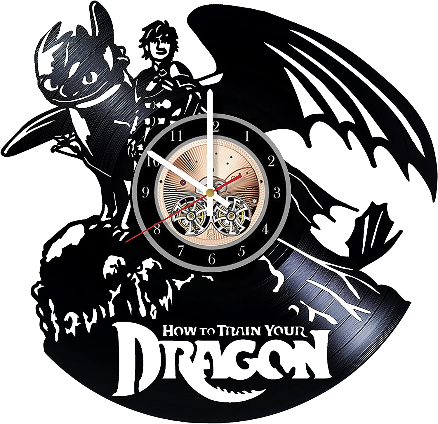 Wood Workshop How to Train Your Dragon Vinyl Record Wall Clock - Get Unique Bedroom or Living Room Wall Decor - Gift Ideas for him and her