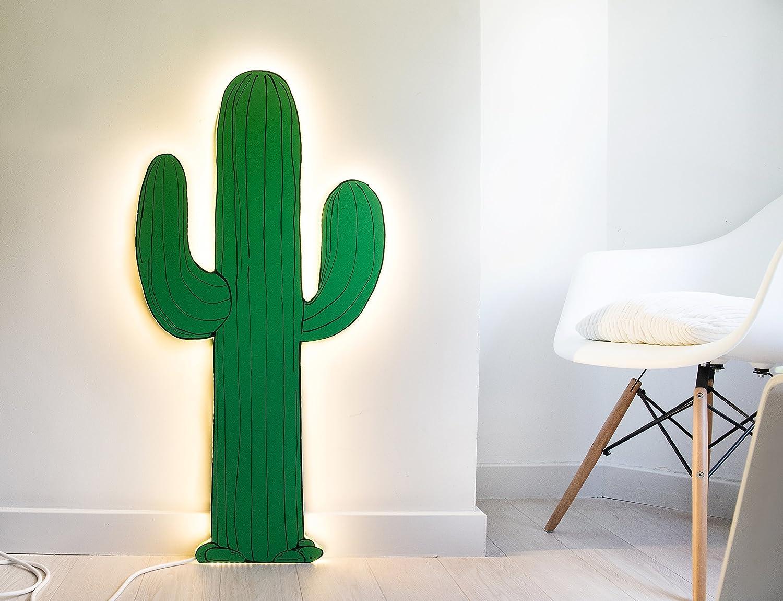 LÁMPARA CACTUS GRANDE. (Desde 80 a 150 cm alto) Hecha a mano con tamaños y color personalizado. Con tira led en blanco cálido y verde.: Amazon.es: Handmade