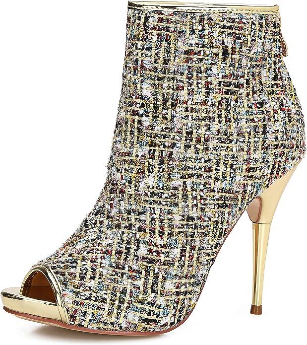 Women/'s Ankle Boots Front Zip Black Platform Stiletto High Heel Pointy Toe Pumps