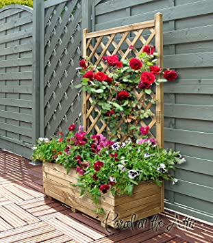 Wooden Garden Flower Planter With Trellis For Climbing Plant Support