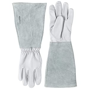 Amazon Basics Leather Gardening Gloves with Forearm Protection - Natural, S