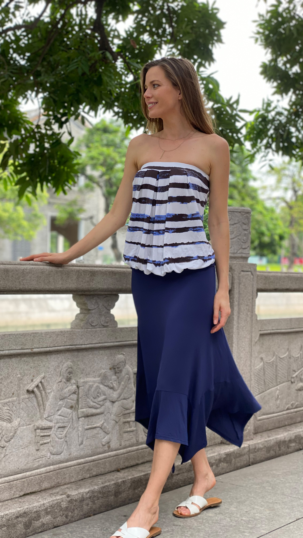 Sleeveless Stretchy Pleated Tube Top
