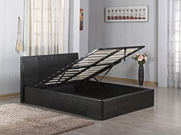 Ottoman Gas Lift Up 46 Double Faux Leather Storage Bed In Black