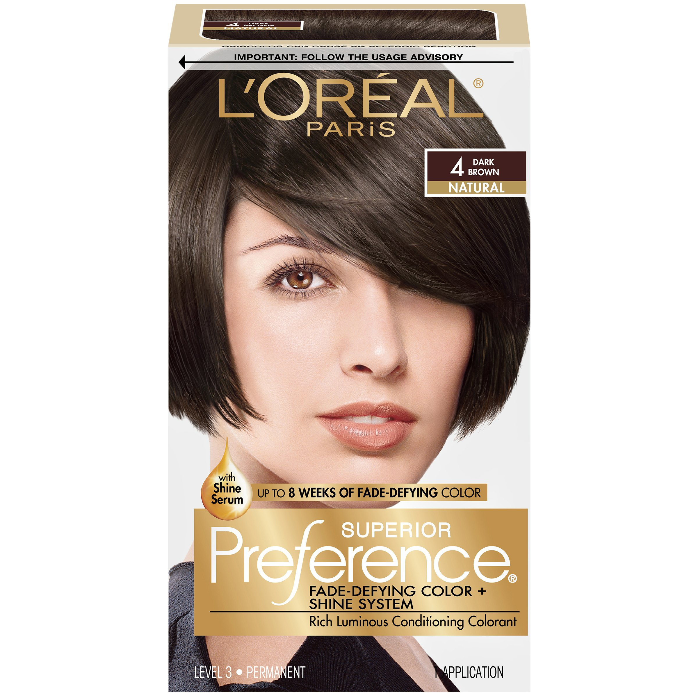 L'Oréal Paris Superior Preference Permanent Hair Color, 4 Dark Brown