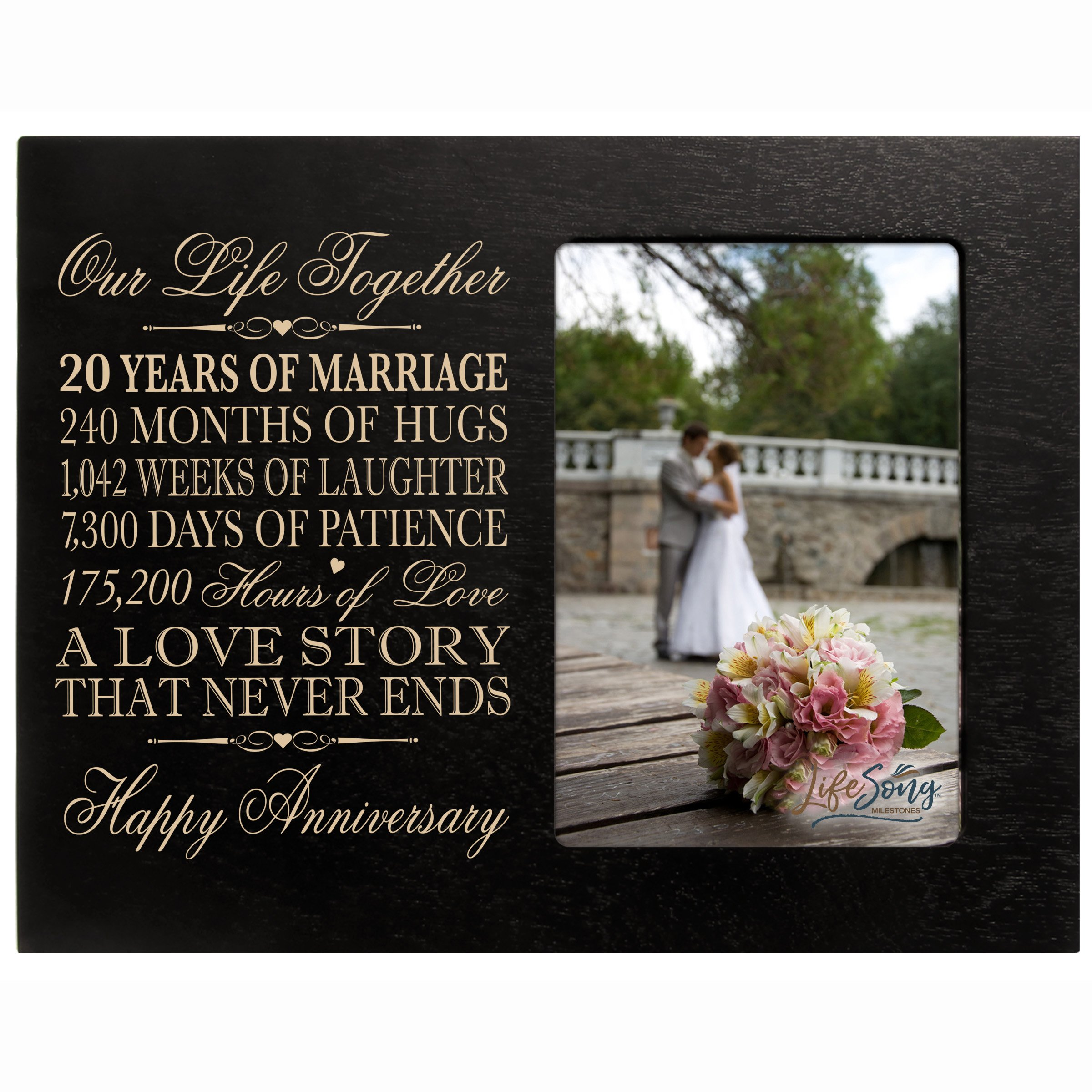 LifeSong Milestones Twenty Year for her him Couple Custom Engraved 20th Year Wedding Anniversary Celebration Gift Frame Holds 4x6 Photo Frame Size 10'' w x 8'' h x 1/2'' (Black)