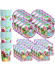 Pink Little Dino Girl Dinosaur Birthday Party Supplies Set Plates Napkins Cups Tableware Kit for 16