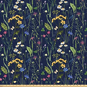 Lunarable Paint Fabric by The Yard, Botanical Beauty Floral Garden Daisy Magnolia Peony Lily Bloom Butterfly, Microfiber Fabric for Arts and Crafts Textiles & Decor, 1 Yard, Green Night