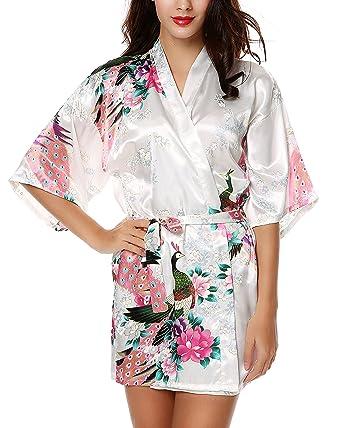 c7015793f569 Avidlove Pyjama Lingerie Kimono Court de Satin de imprimé Floral pour Femme  Blanc (FBA)