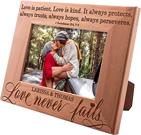 Amazon Com Love Never Fails Personalized Picture Frame 4x6 Personalized Romantic Wedding Couple Photo Frame Engagement Valentine S Day Wedding Gifts For Couple Engraved Frames D 5