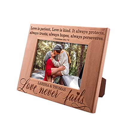 Personalized Picture Frames 4x6, 5x7, 8x10 - Love Never Fails- Personalized  Romantic, Wedding Photo Frame, Engagement, Valentine's Day, Wedding Gifts