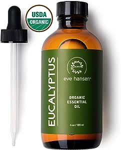 Eve Hansen USDA Certified Organic Eucalyptus Essential Oil 4oz | Topical and Aromatherapy Essential Oil | Organic Eucalyptus Oil for Mucus Relief, Nausea Relief and Stress Relief Essential Oil