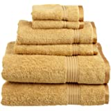 Superior Luxurious Soft Hotel & Spa Quality 6-Piece Towel Set, Made of 100% Premium Long-Staple Combed Cotton - 2 Washcloths, 2 Hand Towels, and 2 Bath Towels, Gold