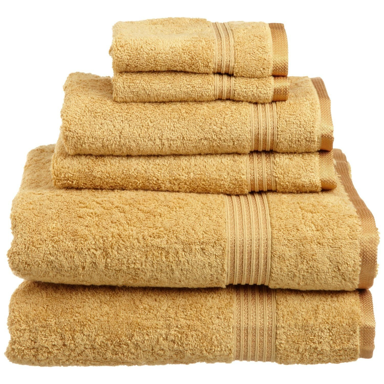 Superior Luxurious Soft Hotel & Spa Quality 6-Piece Towel Set, Made of 100% Premium Long-Staple Combed Cotton - 2 Washcloths, 2 Hand Towels, and 2 Bath Towels, Gold by Superior (Image #1)