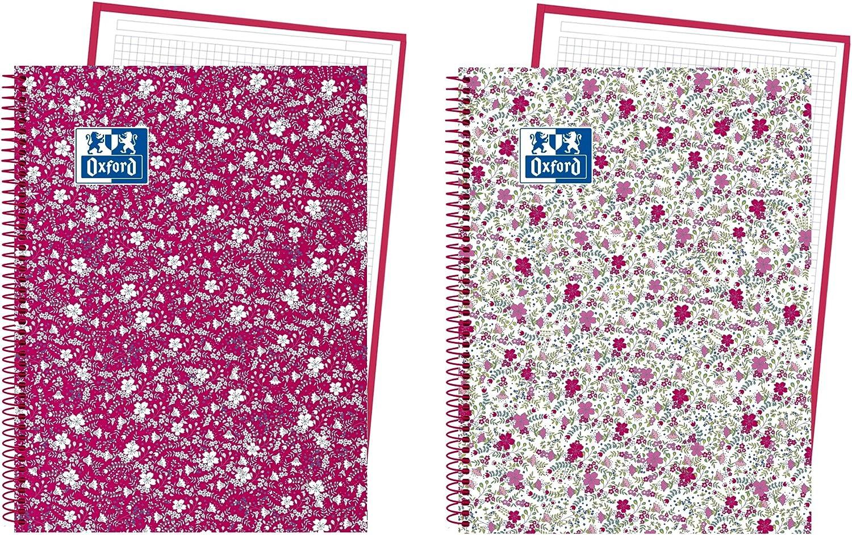 Oxford Floral - Pack de 5 cuadernos en espiral, tapa extradura, A4+: Amazon.es: Oficina y papelería