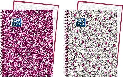 Oxford Floral - Pack de 5 cuadernos en espiral, tapa extradura, A4 ...