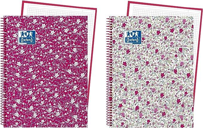 Oxford Floral 400088002 - Pack de 5 cuadernos en espiral, tapa extradura, A4+: Amazon.es: Oficina y papelería