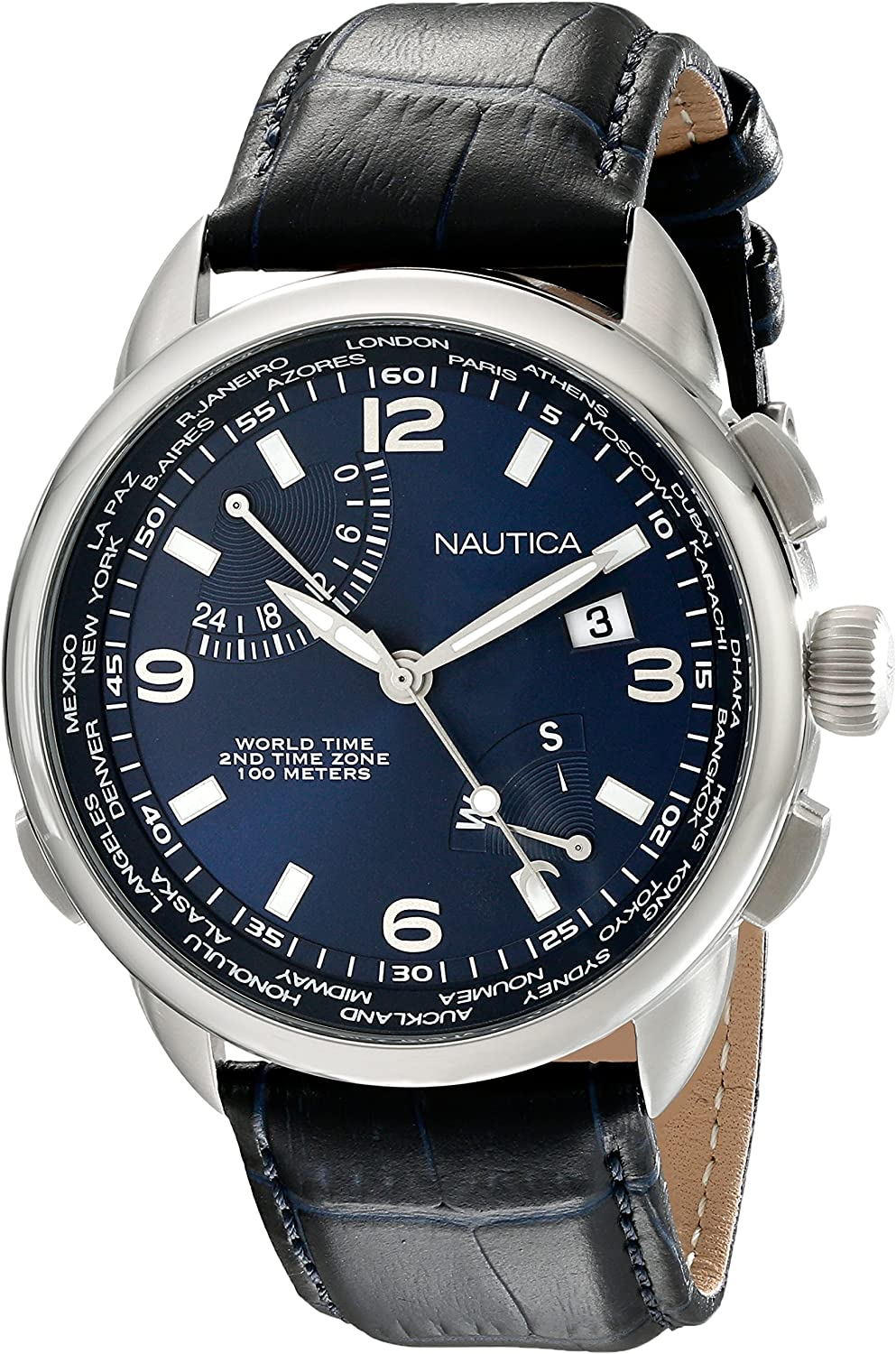 Nautica Men s NAD19507G NWT 01 Stainless Steel Watch with Leather Band