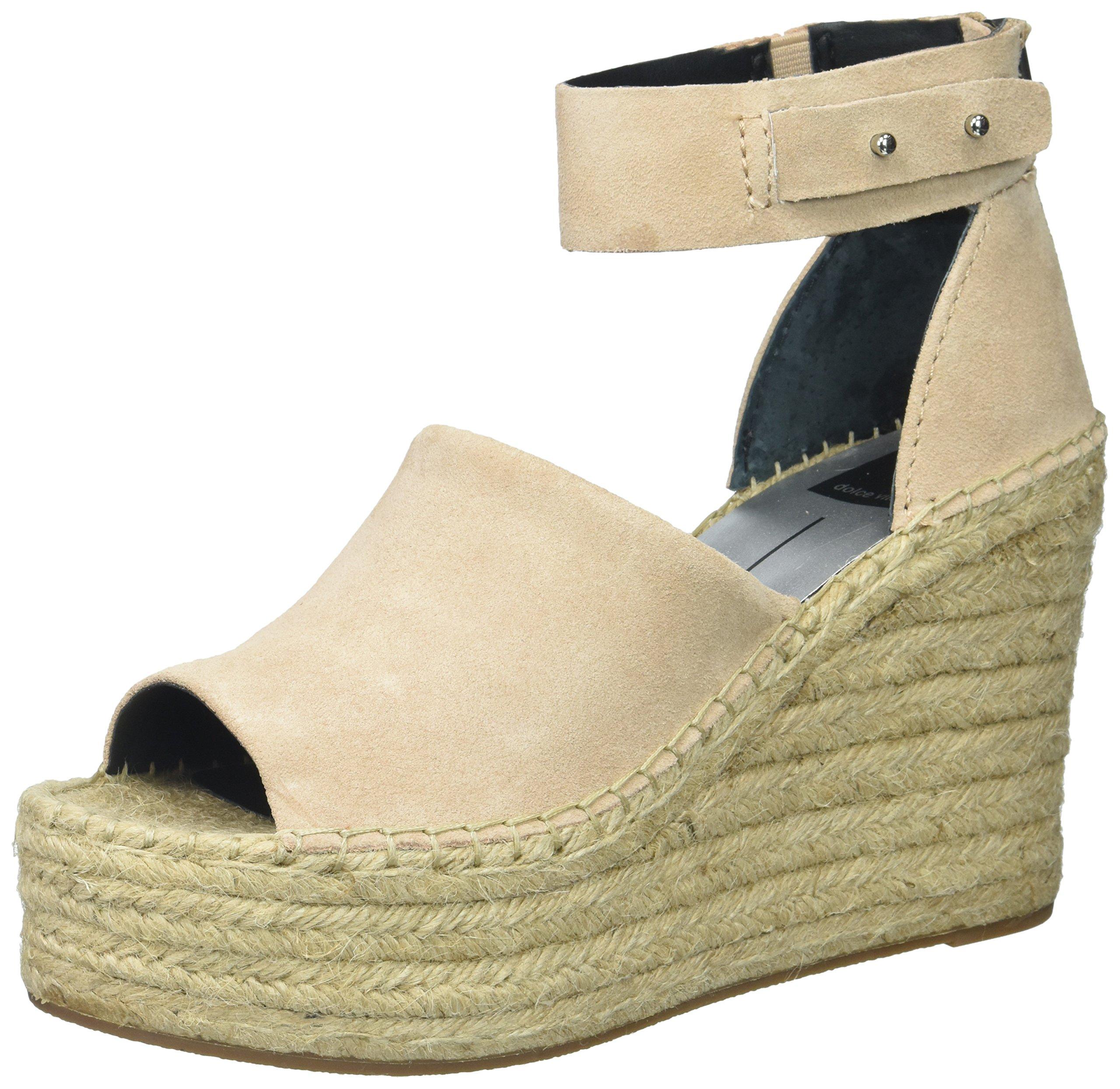 Dolce Vita Women's Straw Wedge Sandal, Blush Suede, 8.5 Medium US