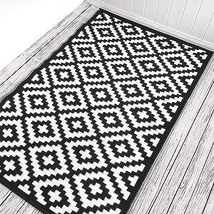 Green Decore Nirvana 120 x 180 cm - Alfombra ecológica para interiores y exteriores - ligera y reversible - Negro / Blanco