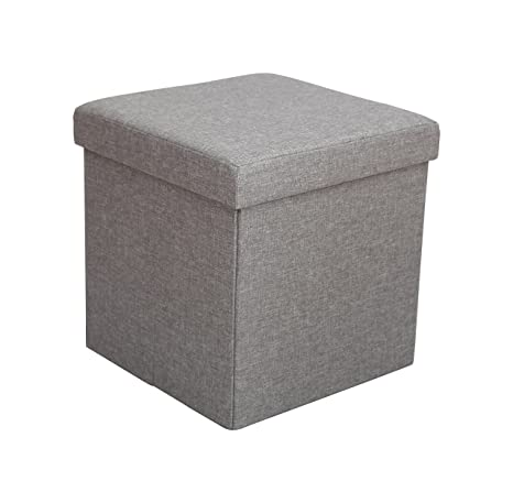 Brilliant Itidy Ottoman Linen Fabric Folding Storage Ottoman Cube Bench Seat Foot Rest Stool Puppy Step Storage Chest Gray Forskolin Free Trial Chair Design Images Forskolin Free Trialorg