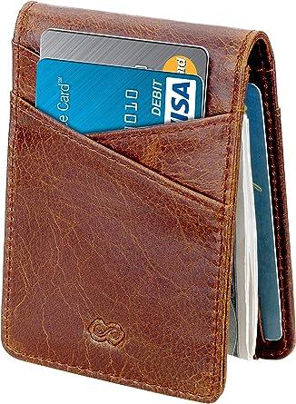 Slim Wallet RFID Blocking Leather Credit Card Holder Brown Purse  Mens Gift Box