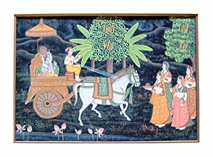 The Royal Chariot With Lord Krishna And The Saarthi Pulling The