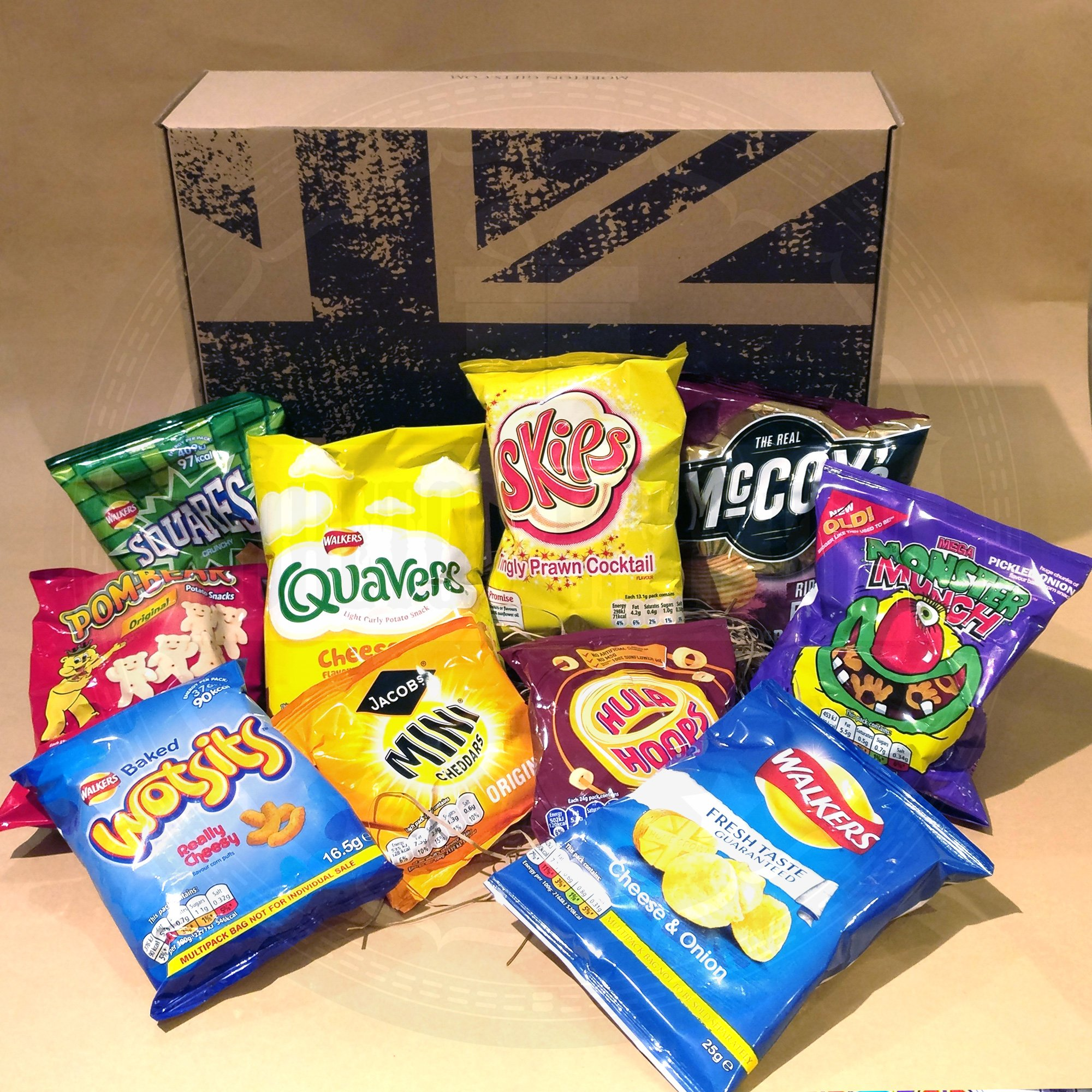 The British Favourite Crisps Collection Gift Box - Top 10 Best Selling UK Crisps/Chips - Selection Of Favourite Crisps - Walkers Squares, Cheese & Onion, Quavers, Wotsits, Monster Munch, Mccoys, Pom B