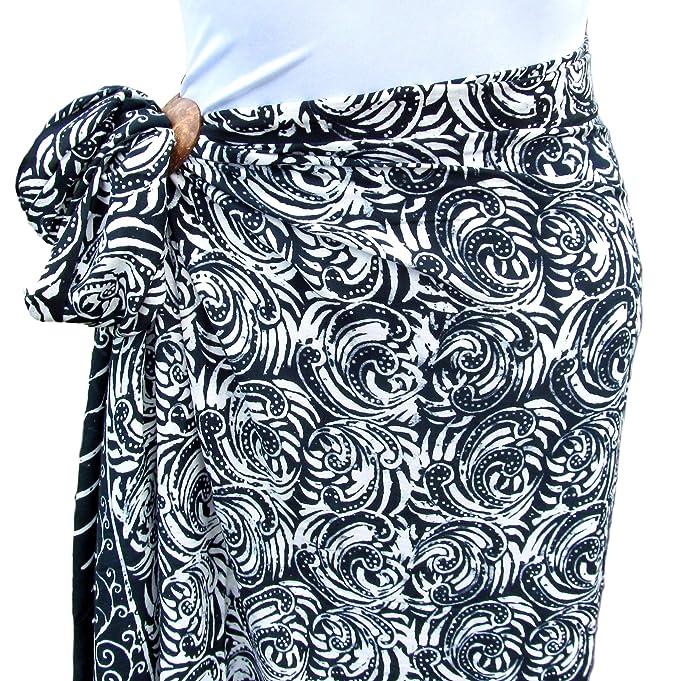 wholesale dealer 88e6a dc931 Black White Full Size Hand Batik Bali Sarong Pareo Shawl ...