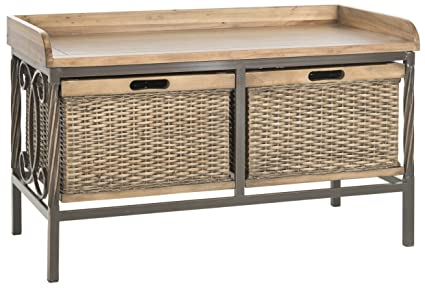 Beau Safavieh American Homes Collection Noah Antique Pewter And Medium Oak  Storage Bench