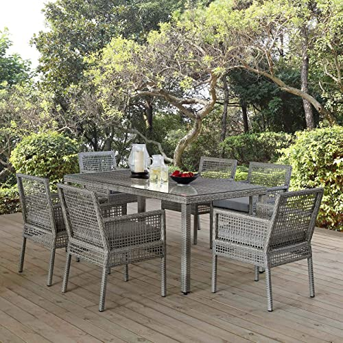 Modway EEI-3560-GRY-GRY-SET Aura 7 Piece Outdoor Patio Wicker Rattan Set Gray, Dining Seven
