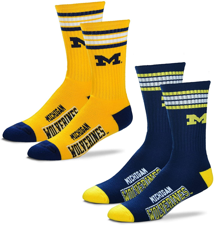 2-Pack -4 Stripe Deuce Crew Socks-Size Large and Medium For Bare Feet Mens NCAA