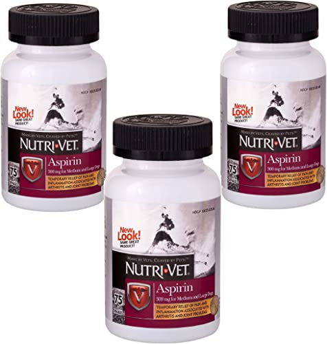 Nutri-Vet 3 Pack K-9 Aspirin Chewables, 75 Count Each