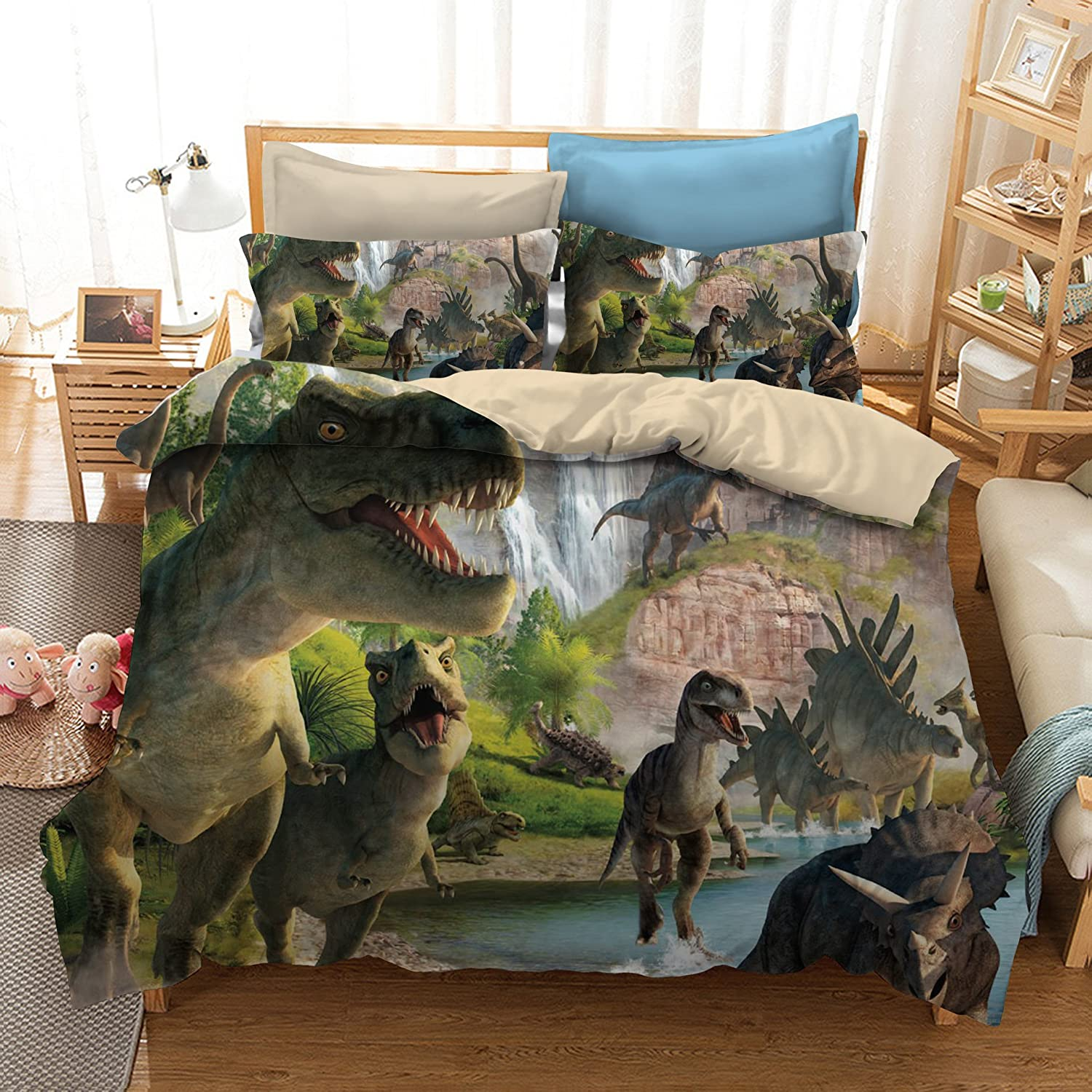 ADASMILE A & S 3D Dinosaur World Bedding Sets 3 Pieces Jurassic Duvet Quilt Cover Set for Kids Boys Teens, Queen Size