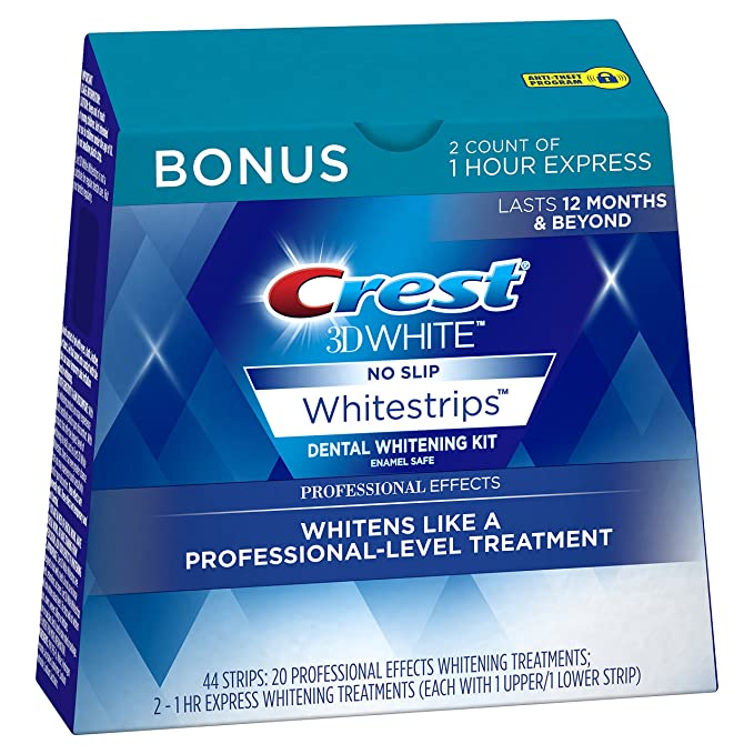 Amazon.com: Crest 3D White Professional Effects Whitestrips 20 Treatments + Crest 3D White 1 Hour Express Whitestrips 2 Treatments - Teeth Whitening Kit: Beauty